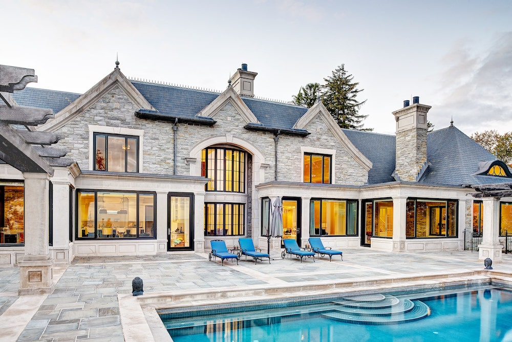 Backyard stone pathing and pool